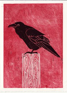 Common RAVEN hand-pulled linocut illustration art print · Anna See · Online Store Powered by Storenvy
