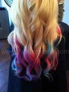 Blonde Hair/Tie Dye/Bohemian Hair/Pink/Purple/Green/(Choose your Base) | ombrehair - Accessories on ArtFire