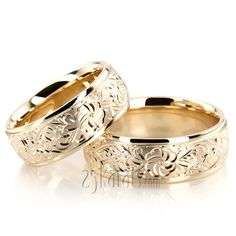 Floral Fancy Cut Wedding Ring Set