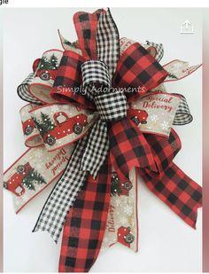 Ribbon On Christmas Tree, Christmas Bows, Christmas Tree Toppers, Rustic Christmas, Christmas Crafts, Christmas Decorations, Etsy Christmas, Vintage Christmas, Christmas Ideas