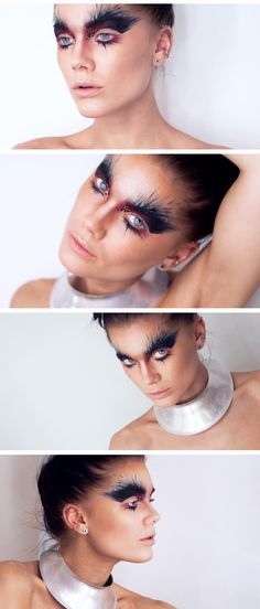 Linda Hallberg Avantgarde Hochzeits Make-up Linda Hallberg Avantgarde # Bird Makeup, Fx Makeup, Makeup Inspo, Makeup Inspiration, Linda Hallberg, Costume Ange, Costume Makeup, Make Up Looks, Extreme Makeup