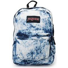 Jansport Denim Daze Acid Blue Backpack ($39) ❤ liked on Polyvore featuring bags, backpacks, vintage rucksack, knapsack bag, jansport backpack, vintage backpacks and vintage knapsack