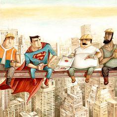 A great illustration of Superman having some pizza by Daniela Volpari! Comic Books Art, Comic Art, Book Art, Animation, Children's Book Illustration, Art Illustrations, Character Design, Sketches, Cartoon