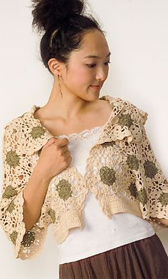 29-13 Motif Shrug By Pierrot (Gosyo Co., Ltd) - Free Crochet Diagram - See http://link.rakuten.co.jp/1/001/714/?url=29ss/29-13.pdf For PDF Diagram - (ravelry)