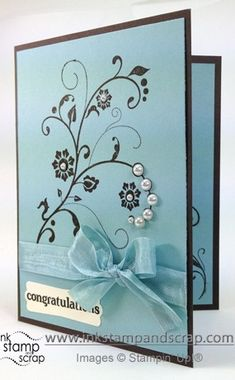 handmade congratulations card ...  baja breeze and black ... Flowering Flourishes ... some pearls and a bow ... delightful card! ... Stampin' Up!