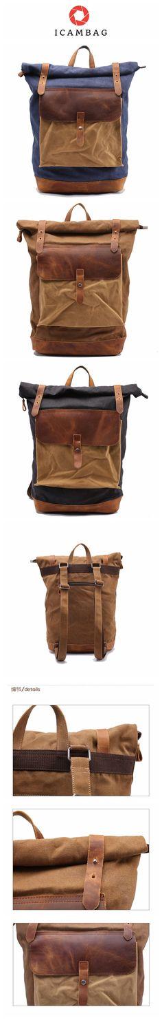 Leisure men's and women's Leather Canvas Backpack Leather Shoulder Bag IPAD Bag Laptop Backpack 1809