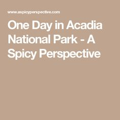 One Day in Acadia National Park - A Spicy Perspective
