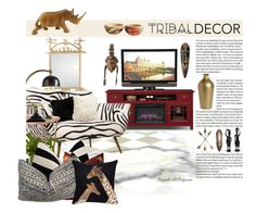 """""""Tribal Decor Theme 2"""" by viryabo on Polyvore featuring interior, interiors, interior design, home, home decor, interior decorating, Arteriors, Emporium Home, Natural by Lifestyle Group and Umbra"""