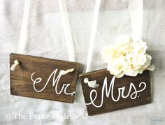 Wooden Mr and Mrs Signs Chair Signs