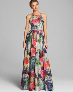 Phoebe by Kay Unger Gown - High Neck Sleeveless Floral Print - Pink Multi Dress Outfits, Casual Dresses, Fashion Dresses, Dress Shoes, Shoes Heels, Pretty Dresses, Beautiful Dresses, Evening Dresses, Summer Dresses