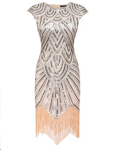 Women Art Deco Tassel 1920s Style Party Wedding Slim gatsby O Neck Flapper Dress