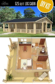 Woodworking Plans Diy Riopas Cabin/Home by EZ Log Structures - quality small log cabin kits and pre-built cabins that you can afford! Plans Diy Riopas Cabin/Home by EZ Log Structures - quality small log cabin kits and pre-built cabins that you can afford! Small Log Cabin Kits, Tiny Log Cabins, Tiny House Cabin, Tiny House Design, Small House Plans, Cabin Homes, Log Homes, House Floor Plans, Tiny Homes