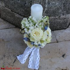 Lumanari botez sau nunta Baptism Candle, Pillar Candles, Bb, Table Decorations, Party, Kids, Candlesticks, Candles, Toddlers