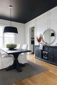 décoration de plafond quelle couleur accorder au noir ou bleu canard salle a manger table bois