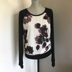 Black and White Pink Long Sleeve Blouse 14/16 Excellent condition, never worn. Has hung in closet. Silk front, cotton blend sleeves. Lane Bryant Tops Blouses