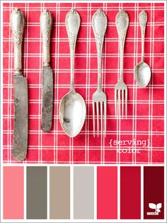 color scheme for dining room.using sterling flatware as the base palette. Oh I LOVE antique sterling pieces.but just itchin' to put polish on these! Palettes Color, Colour Schemes, Color Patterns, Color Combos, Pantone, Color Palate, Design Seeds, Colour Board, Color Swatches