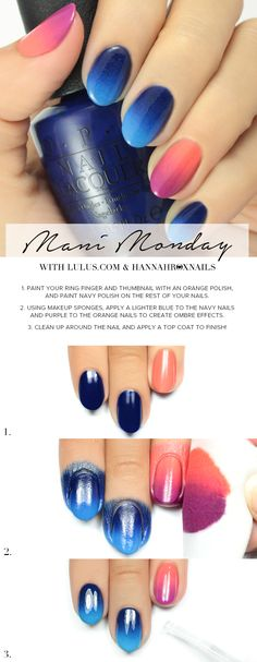 Pink and Blue Ombre Nail Tutorial