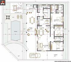 Pinterest: @claudiagabg   Casa 3 cuartos piscina