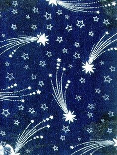 Textile design of shooting stars, French, ca.1880-1900. Roller-printed cotton