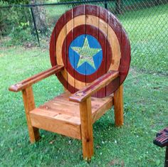 Captain America Fire Pit Chair by LanceSawyersStudios on Etsy - visit to grab an unforgettable cool 3D Super Hero T-Shirt! More