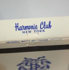 Harmonie Club New York Matchbook Cover Exclusive Private Membership NYC Unstruck #RearStrike