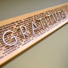 """GRATITUDE"" is a detail from the donor recognition panel on the second floor of Marquette University's Memorial Library."