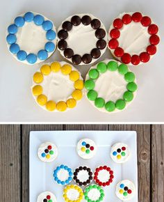 We interrupt our regularly scheduled vacation posts to bring you some super cute Olympic treats. We used sugar cookies, but cupcake...