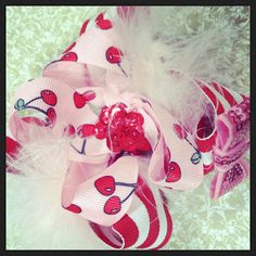 Over the top Cherry hair bow