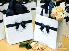 Wedding Welcome Bags with satin ribbon bow and by WeddingUkraine