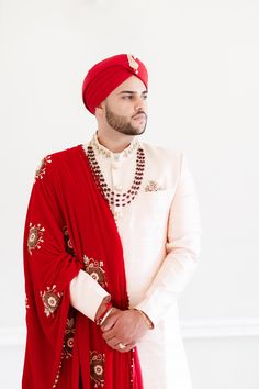 Groom in Red and Pale Pink Outfit with Stone Embellishment for Sikh Wedding | By Zehra Jagani | Sikh Wedding | Burgundy Wedding Decor | Pink Wedding Decor | Burgundy Wedding Dress | Sikh Groom | Sikh Bride | Gold Bridal Jewellery | Red Wedding Dress | Groom Wedding Suit | Groom Outfit Burgundy Wedding, Red Wedding, Wedding Groom, Wedding Suits, Wedding Dresses, Sikh Wedding Decor, Pink Wedding Decorations, Groom Outfit, Groom Dress