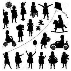 Illustration of toddler child children baby girl kid silhouette playing happy activity vector art, clipart and stock vectors. Kids Silhouette, Silhouette Images, Silhouette Portrait, Silhouette Vector, Baby Girl Clipart, Black Baby Girls, Photo Images, Child And Child, Kids Playing