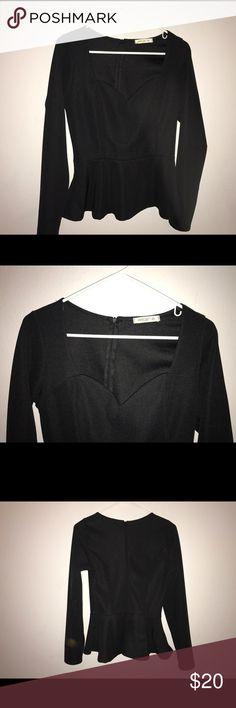 Arden B black peplum long sleeve shirt. EUC Arden B black peplum long sleeve shirt. Sweetheart neckline. EUC. Tops