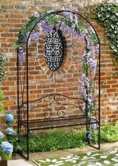 Garden trellis with bench