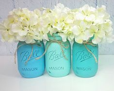 Teal and Turquoise Mason Jars, Spring Wedding, Wedding Centerpieces, Mason Jar Decor, Nursery Decor, Turquoise Baby Shower, Rustic Decor