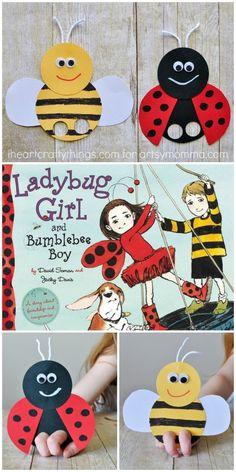 Mega Adorable Ladybug Finger Puppet Bee & Ladybug Finger Puppet Craft to go along with the book, Ladybug Girl and Bumblebee Boy Summer Crafts For Toddlers, Toddler Crafts, Preschool Crafts, Diy Crafts For Kids, Art For Kids, Activities For Kids, Science Crafts, Ladybug Girl, Ladybug Party