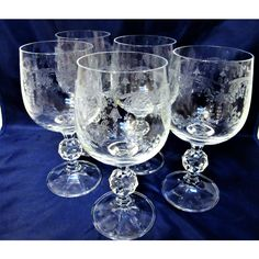 Crystal Stemware Glasses Champagne Wine Queens Lace set Vintage ($35) via Polyvore featuring home, kitchen & dining, drinkware, vintage stemware, czech crystal stemware, vintage crystal stemware, crystal stemware and crystal drinkware