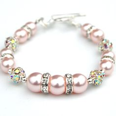 Sparkling Pink Pearl Rhinestone Bracelet, Wedding Party