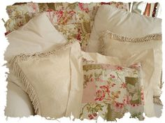 Antique French European Linen Quilted Floral Roses by SimplyPosh, $168.00