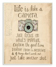 Take a look at this 'Life is Like a Camera' Wall Art today!