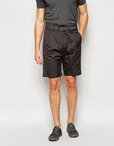 ASOS Slim Shorts In Crinkle Stripe Charcoal - Gray