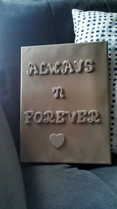 My DIY anniversary gift for parents. Canvas, wooden letters, glue and spray paint.