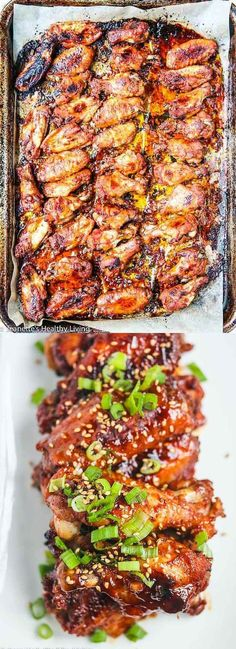 Baked Korean Gochujang Chicken Wings - these wings are sweet, spicy and perfect for a party. You can oven bake them or grill them - the marinade is the key (Korean Chicken Marinade) Korean Dishes, Korean Food, Asian Recipes, Healthy Recipes, Ethnic Recipes, Easy Recipes, Gochujang Chicken, Marinade Chicken, Chicken