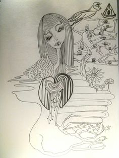 Mother Nature, My Drawings, Ink, India Ink, Nature, Mother Earth