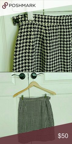 Houndstooth Silk Skirt @tea_n_yoga at Poshmark   Houndstooth Silk Skirt   Pristine condition   100% Silk   Fully lined   Hidden side zipper with eye-hook closure. Albert Nipon Skirts A-Line or Full