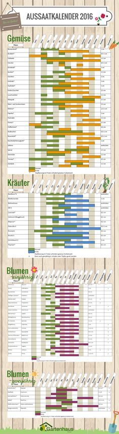 Wir hoffen, dass dieser Aussaatkalender Ihnen im Jahr 2016 einen wild sprießenden Garten in jeder Jahreszeit bescheren wird. Damit Sie in jedem Monat auf Aussaat und Ernte vorbereitet sind, drucken Sie sich doch den Kalender aus und hängen ihn sich in das Gartenhäuschen. Auf dass kein Samen ungepflanzt bleibt! Aussaatkalender 2016 - Gartenhaus GmbH