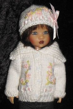Handknit Spring Posies  Sweater Set for Kish Riley, by Sue