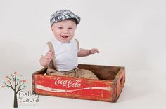 6 month baby pictures - would have to find a  BETTER crate than that though!