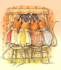 By Jill Barklem.  Wee mice looking out the window