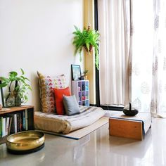 """Jayati and Manali share their home tour as the science home décor - A study room decorated with book shelf, green plants, frames and vintages Indian Bedroom Decor, Ethnic Home Decor, Indian Home Decor, Indian Living Rooms, My Living Room, Living Room Decor, Living Area, Indian Home Interior, Floor Seating"