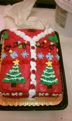 Ugly Christmas sweater cake! Looks so cute in a shirt box!